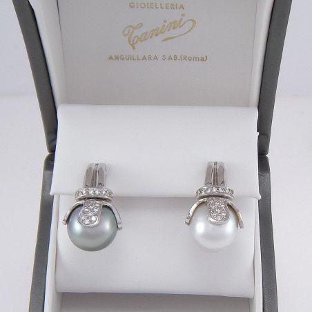 Earrings Australian pearl 13 mm Tahitian pearl 13 mm, Diamonds, 18Kt white gold