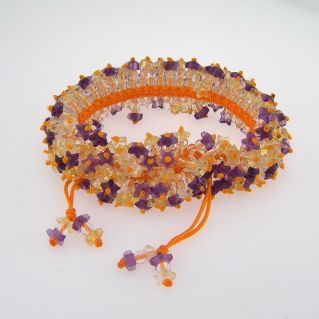 Hand-woven bracelet with natural amethysts and citrine quartz