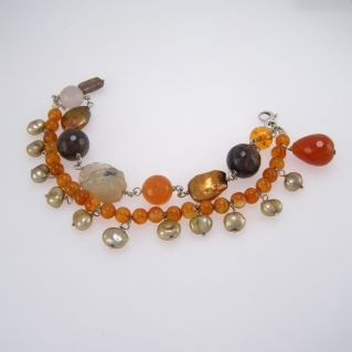 925 Silber Silber Armband mit Perlen und verschiedenen Halbedelsteinen eingesetzt