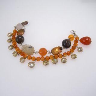 Bracelet en argent 925 avec perles et diverses pierres semi-précieuses insérées