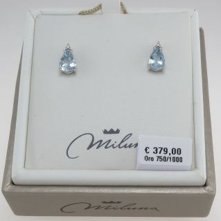 MILUNA Earrings, Aquamarines Ct 1,30 and Diamonds G / SI, Gold 750 ‰