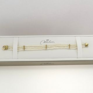 MILUNA bracelet, Natural pearls, white, 3-3.5 mm - 750 ‰ yellow gold
