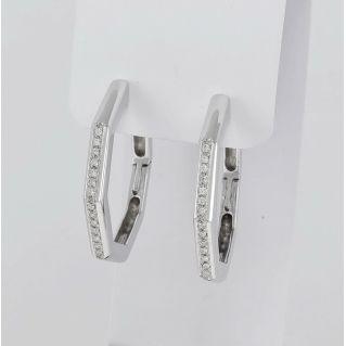 Boucles d'oreilles cercle diamants 0,20 Ct H / VS, or blanc 750, artisanat italien