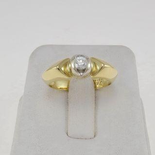 UNOAERRE Bague Solitaire Diamant Ct 0.20 H / VS - Or jaune et blanc 18 Kt