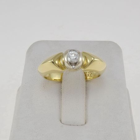 Anillo Solitario de Diamantes UNOAERRE Ct 0,20 H / VS - Oro amarillo y blanco 18 Kt