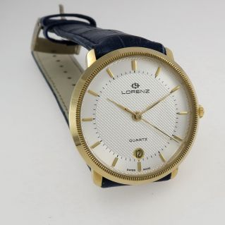 LORENZ Quartz Unisex Watch - Gold laminated case and Crocodile strap