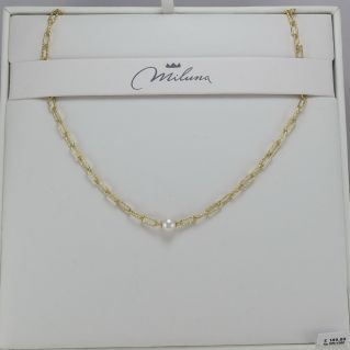 MILUNA necklace. 925 ‰ silver plated yellow gold 42-43.5 cm White pearls