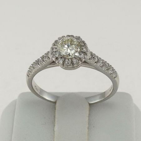 Solitaire Diamond Ring Ct 0.44 + 0.20 18 Kt White Gold, Italian craftsmanship