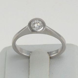 Anillo Solitario Diamante Ct 0.30 G / IF (puro) - Oro blanco de 18 Kt, artesania italiana