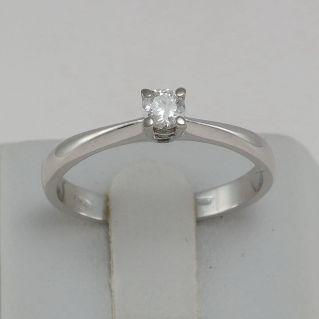 Anillo Solitario Diamante 0.15 Ct G / VVS - Oro Blanco 18 Kt, Artesania Italiana