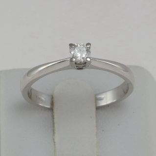 Solitaire Diamond Ring 0.15 Ct G / VVS - 18 Kt White Gold, Italian craftsmanship