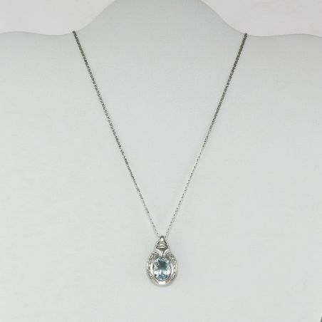 Necklace with Aquamarine Ct 1.90 + Diamonds Ct 0.18 - Gold 750‰ Made in Italy