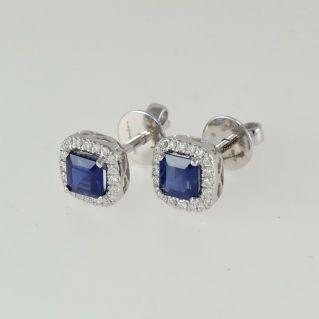 GIANNI CARITA Saphir Ohrringe Ct 1,37 + Diamanten Ct 0,17 G / SI - Gold 18 Kt