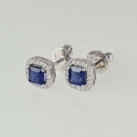 GIANNI CARITA Sapphire Earrings Ct 1.37 + Diamonds Ct 0.17 G / SI - gold 18 Kt