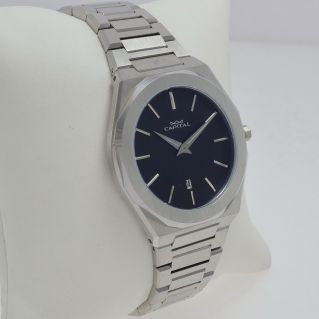 CAPITAL men's watch, quartz, elegant and clearly legible dial, Stainless steel