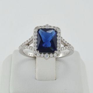 FOGI ring by Gianni Carità 925 silver treat. Rhodium, Sapphire-colored gemstone
