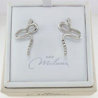 Boucles d'oreilles MILUNA - Diamants Ct 0,112 H couleur, Or 750 ‰ - Longueur 25 mm