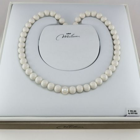 MILUNA necklace, white coral and pearl agglomerate spheres, Ag 925 ‰