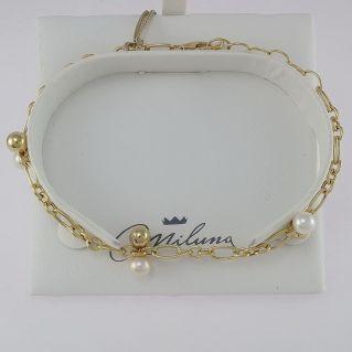 MILUNA Armband - Weiße Zuchtperlen mm 5-5,5 - 925 ‰ Silber vergoldet