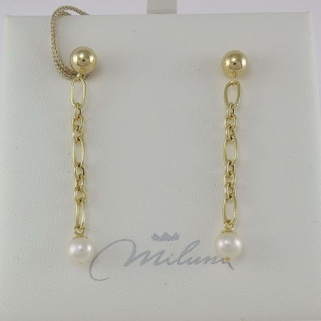 MILUNA earrings - White cultured pearls 5.5-6 mm - Silver 925 ‰ golden plated
