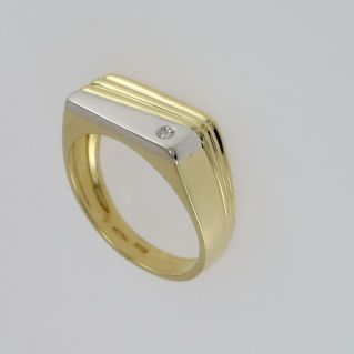 Men's Ring with Diamonds Pt 2 H-VS - 18 Kt yellow and white gold