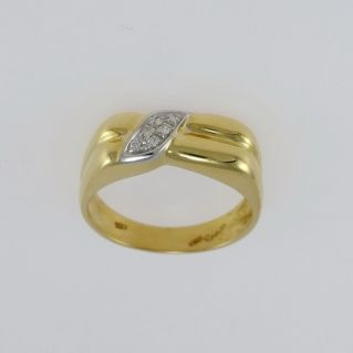 Men's Ring with Diamonds Pt 6 H-VS - 18 Kt yellow and white gold