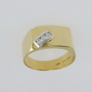 DAMIANI Man's Ring with Diamonds Ct 0.14 G-VS - 18 Kt yellow and white gold