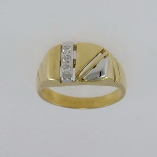 Men's Ring with Zircons - 18 Kt Yellow and White Gold