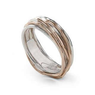 FILODELLAVITA Ring, Classic Collection, 7 wires, 9kt Rose Gold and 925 Silver