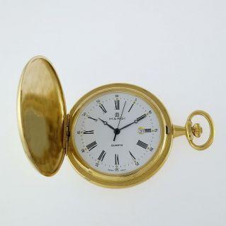 MARGI, reloj de bolsillo Savonnette, caja de oro laminado, cuarzo