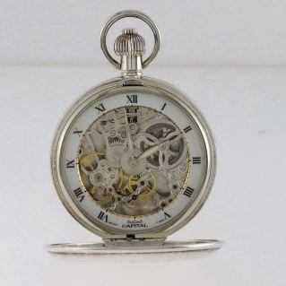 CAPITAL, Silver skeletonized pocket watch, Manual winding, Swiss movement