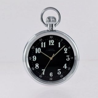 CAPITAL - Pocket watch with manual winding, mineral glass, steel case