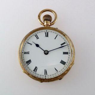 Reloj de bolsillo vintage de 1900, oro de 18 kt, suizo, escape de ancla