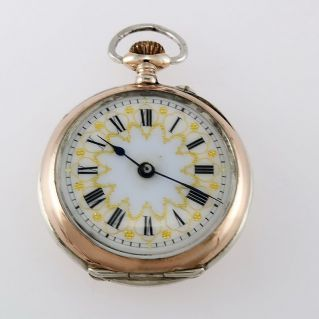 Vintage pocket watch from the end 1800s, silver 800, Swiss, cylinder escapement