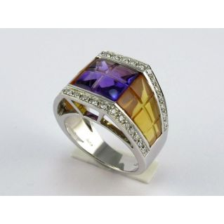Ring in White Gold - Diamonds, Amethyst, Topaz Yellow