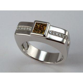 Anello 121 CENTOVENTUNO - Oro Bianco - Diamanti e Topazi naturali gialli