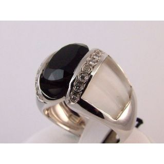 Ring 18 Kt White Gold - Diamonds and natural gemstones