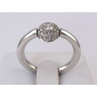 SOLITARY RING by MILUNA Ct 0.14 central diamond + n° 34 side diamonds - Ct 0.34