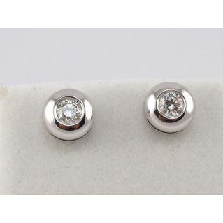 BOUCLES D'OREILLES Point lumineux, Or blanc 18 kt - Diamants Ct 0.31