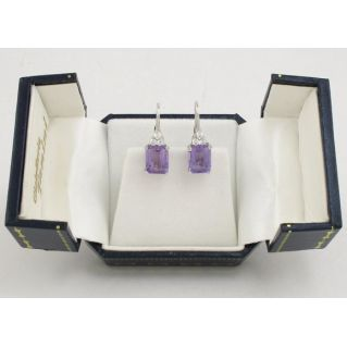 Earrings - natural Amethyst - Emerald cut + Zircon - White Gold
