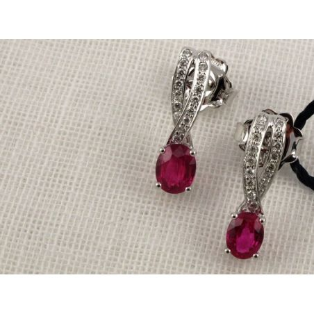 BLISS - Earrings with Ruby and diamonds - Coll. EMMA