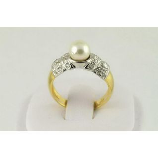 Ring AKOYA PEARL - Yellow Gold and White - n 24 DIAMONDS Brilliant cut