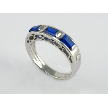 Trilogy Ring by 121 Centoventuno - Hydrothermal Quartz color Sapphire Blue