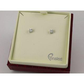 ORECCHINI solitario punto luce Oro Bianco 18 kt Diamanti Ct 0,38 Col E/F VS/SI