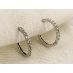 HOOP EARRINGS - 18 kt white gold - Diamonds 0.26 Ct. G-VS