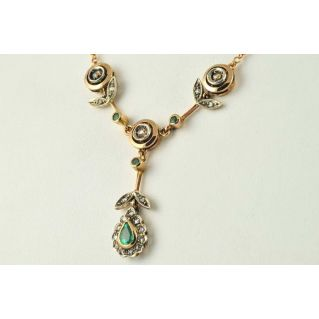 Necklace antique style, Rosette diamonds, emeralds, 14k gold, silver, handcrafted