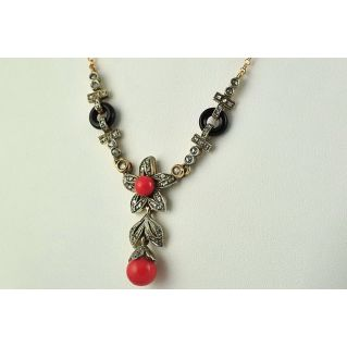 Necklace antique style, Rosette diamonds, coral, onyx, gold, silver, handcrafted