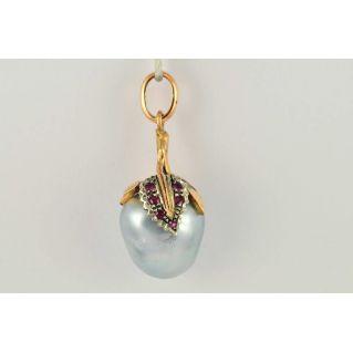 Pendant antique style, Australian pearl, rosette diamonds, rubies, Gold, silver