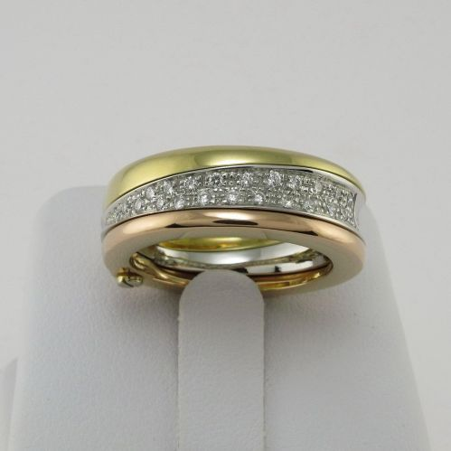 BAND RING by GIANNI CARITA' - 'Uno e Trino' Collection - Ct 0,23 Diamonds G/VVS2