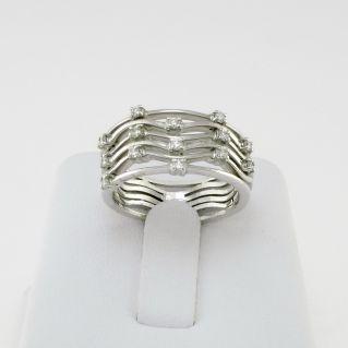 GIANNI CARITA' Anello a fascia Oro Bianco 18 kt - Diamanti Ct 0,28 G - VVS2